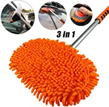 AgiiMan Car Wash Brush with Long Handle - Car Cleaning Mop, Chenille Microfiber Mitt Set, Adjustable Length 24in-46in Glass Scrabber 3 in 1 Vehicle Cleaner Kit