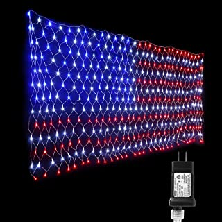 Lyhope Independence Day's Light Set, 390 LED American Flag Christmas Net Lights 6.56ft x 3.28ft Low Voltage Decorative String Lights for Christmas, Garden, Indoor, Outdoor Decor(Red,White,Blue)