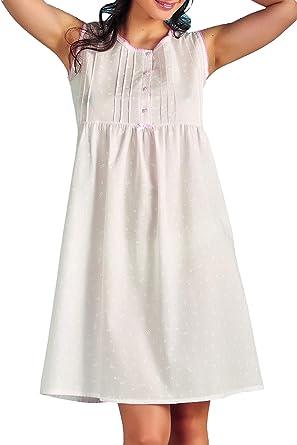 Vilfram - Camisa de noche de mujer de hombro ancho rosa 100% algodón tejido batista con estampado floral, cierre de botones, lazo de raso.