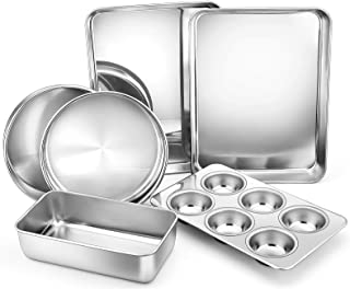 6-Piece Stainless Steel Bakeware Sets, E-far Metal Baking Pan Set Include Round Cake Pans, Rectangle Baking Pans, Cookie S...