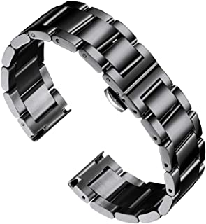 BINLUN Thick Stainless Steel Watch Band Metal Heavy Watch Bracelets Polished Matte Brushed Finish Watch Strap Replacement ...