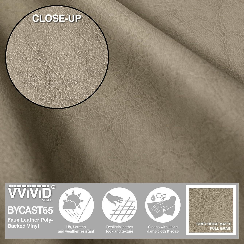 VViViD Bycast65 Grey Beige Full-Grain Faux Leather Marine Vinyl Fabric (Sample Swatch)