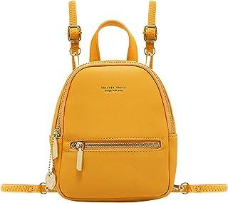 Aeeque Damen Mini Rucksack börse, Leder Crossbody Handytasche Kleine Umhängetasche, (2 gelbe Schultergurte), Small