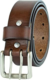 Levi's Men's Leather Work Belt - Heavy Duty Wide Strap With Silver Double Prong Buckle