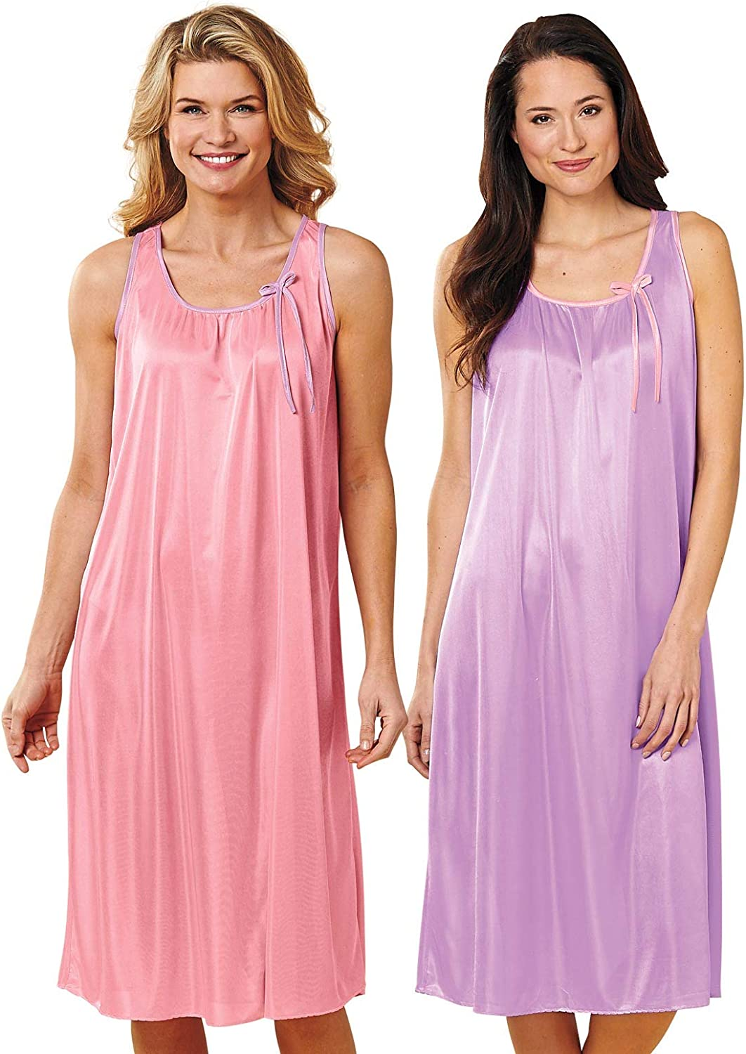 Popularity 2-Pack Sleeveless Nightgowns Color Rose Size High quality Extra Purple Larg