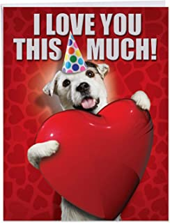 Big Dog Card for Happy Birthday Celebrations 8.5 x 11 Inch - 'Love You This Much Dog' Appreciation Card - Adorable Puppy With A Party Hat Flashing A Huge Red Heart - Bday Cards w/Envelope J1648BDB