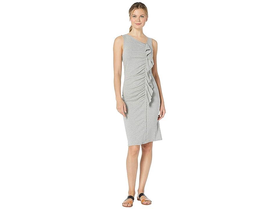Bobeau French Terry Ruffle Front Dress (Heather Grey) Women