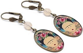 Orecchini resina Frida farfalla fiore blu rosa nero perla regali personalizzati Natale cerimonia di nozze anniversario osp...