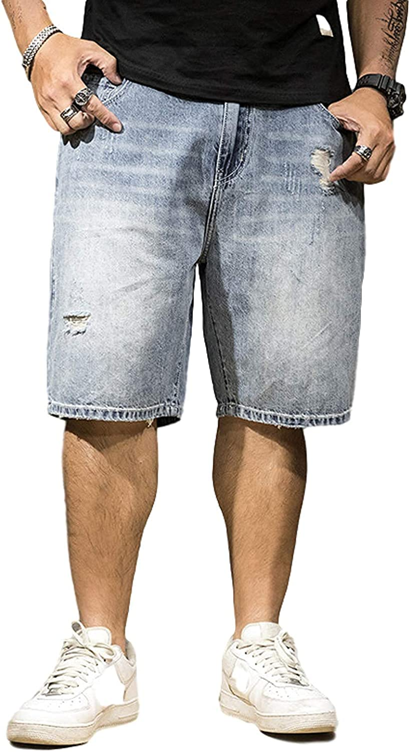 Andrea Spence Mens Denim Shorts, Slim Fit Distressed Ripped Half Jeans Pant, Relaxed