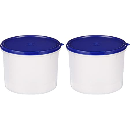 Amazon Brand - Solimo Round Plastic Container, 2.2 litres, Set of 2, Blue