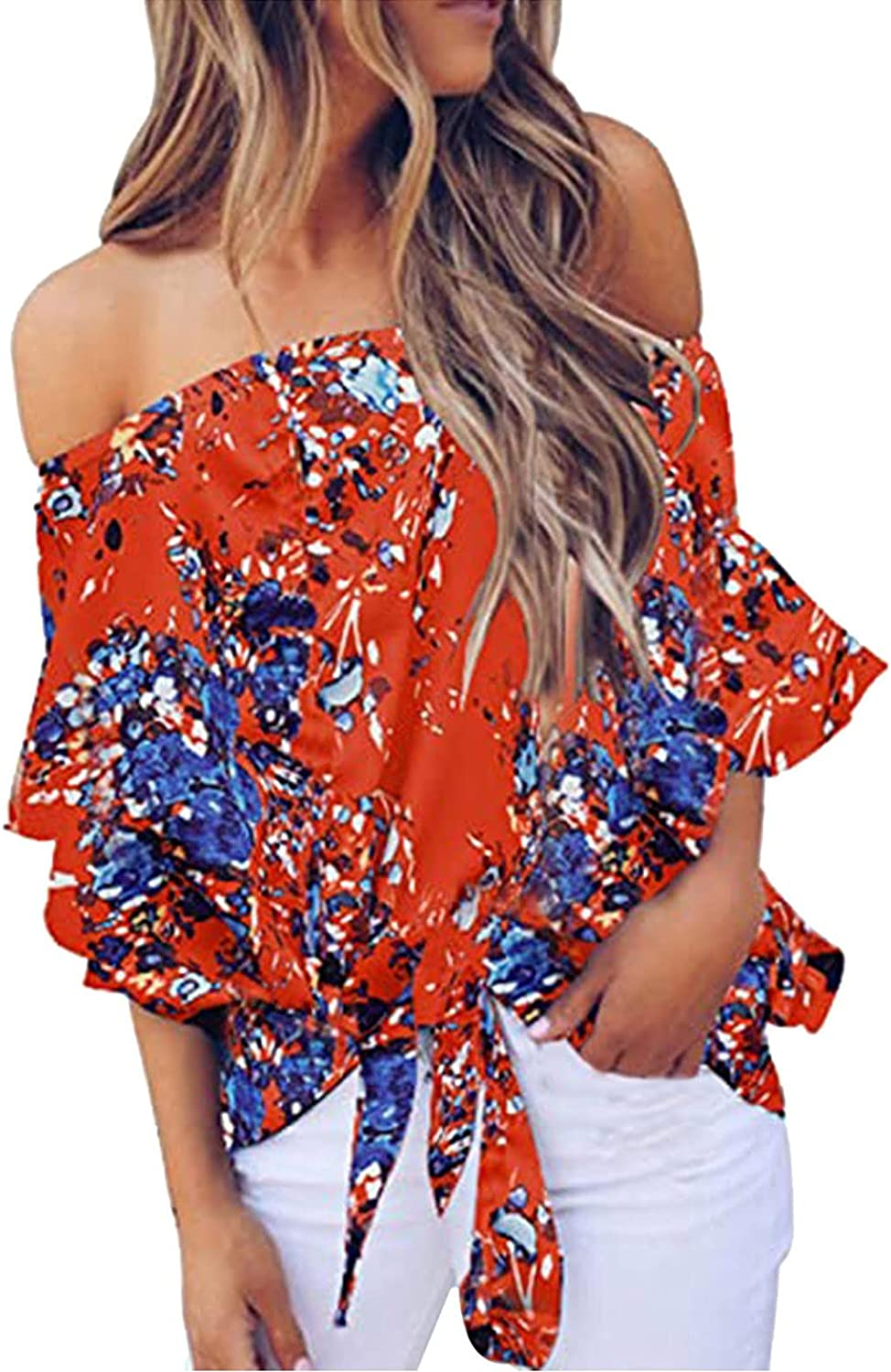 Womens Summer Printed Off The Shoulder Tops Casual Flared Bell Sleeve Tie Knot T Shirts Blouses