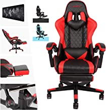 AUSELECT Gaming Chair Ergonomic Office Chair Heavy Duty Racing Style Chair with Footrest, Headrest and Reclining Back Supp...