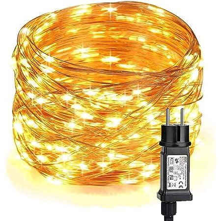 BrizLabs Guirlande Lumineuse Noël Extérieur 10M 100 LED Guirlandes Lumineuses Étanche 8 Modes Lumière De Fil de Cuivre Décoration pour Jardin Patio Arbre Mariage Fête Maison Intérieur, Blanc Chaud