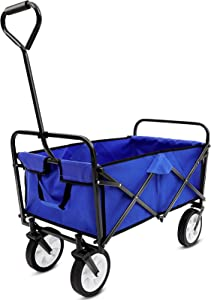 Blue 176 LBS Collapsible Folding Wagon Utility Outdoor Camping Garden Cart with Universal Wheels Adjustable Handle