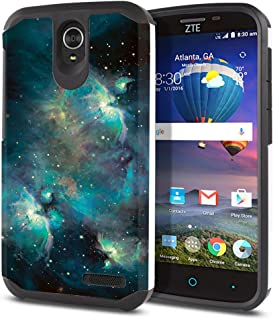 FINCIBO Case Compatible with ZTE Grand X 3 X3 Z959 Warp 7 N9519, Dual Layer Hard Back Hybrid Protector Case Cover Anti Shock TPU for Grand X 3 - Blue Sky Galaxy Nebula