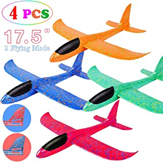 """MIMIDOU 4 Pack Glider Plane Toys, 17.5"""" Large Throwing Foam Airplane, Dual Flight Mode Flying Toy, The Best Outdoor Sport Toy Gifts for Kids."""
