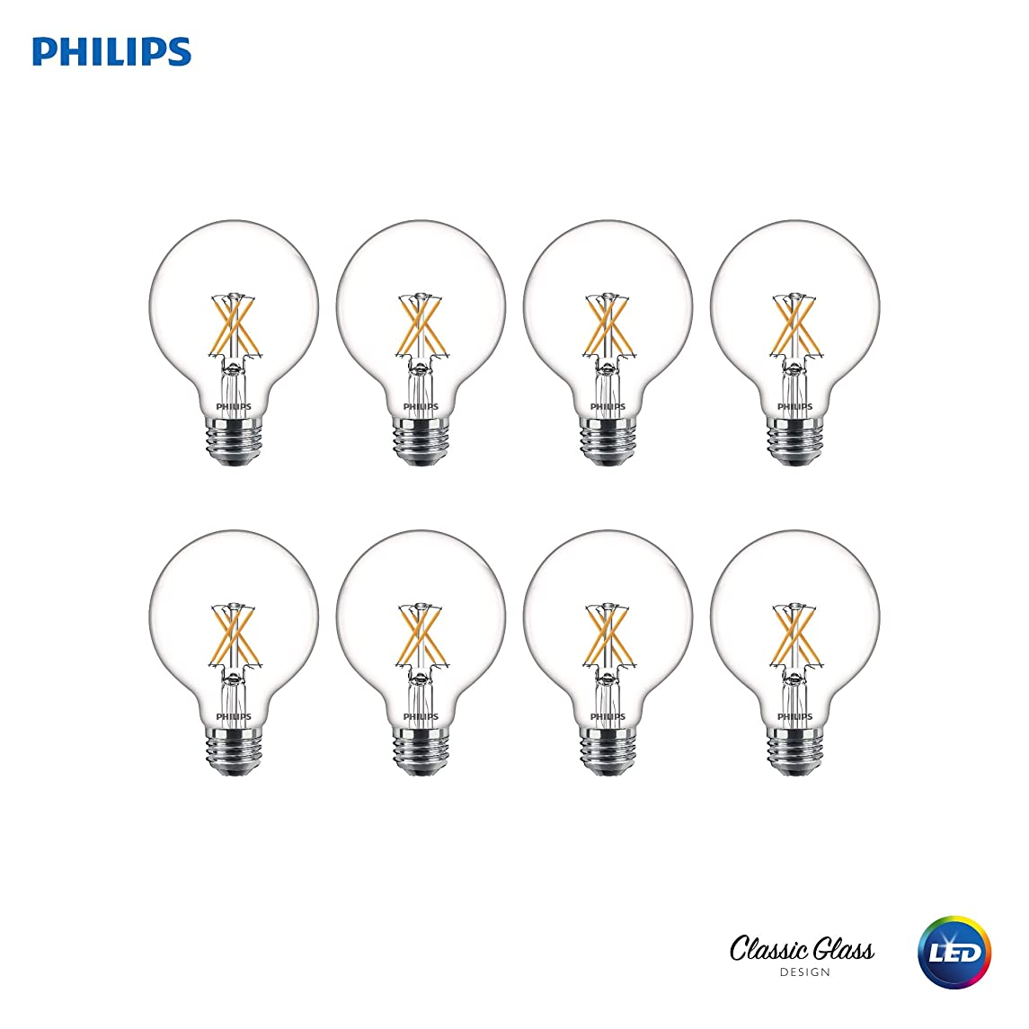 Philips 536557 LED Dimmable G25 Clear X-Filament Glass Light Bulb with Warm Glow Effect: 350-Lumens, 2700-Kelvin, 4 (40-Watt Equivalent), Soft White, E26 Medium Screw Base, 8 Pack, Piece