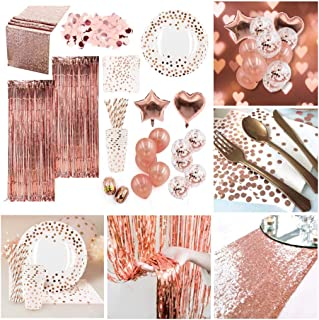 115 PCs Rose Gold Birthday Party Decorations Rose Gold Party Decorations Set plates napkins cups straws knives spoons fork...