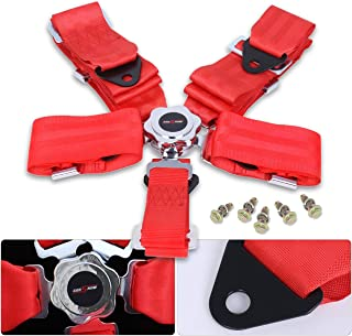AJP Distributors 2x Red Safety 4-Point 2 Strap Nylon Camlock Center Seatbelt Upgrade Replacement Performance Track Drag Drift Off-Road Wide
