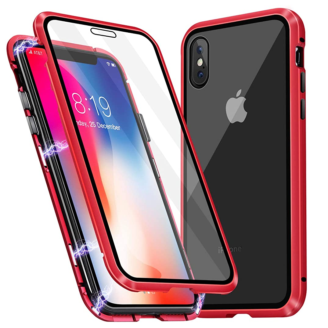 iPhone Xs Case, iPhone X Case, MISSCASE Ultra-Thin Magnetic Adsorption Case Front and Back Tempered Glass Full Screen Coverage One-Piece Design Flip Cover for Apple iPhone X/Xs (Clear Red)