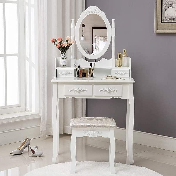 Unihome 化妆梳妆台 W 镜子梳妆台白色化妆书桌梳妆台带抽屉女士