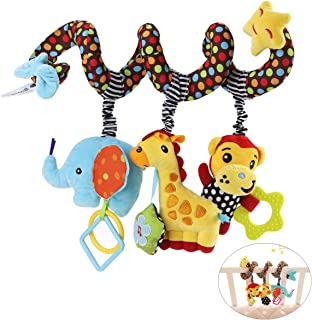 Baby Kid Spiral Bed Stroller Toy Elephant Monkey Educational Plush Toy for Car Seat Mobile