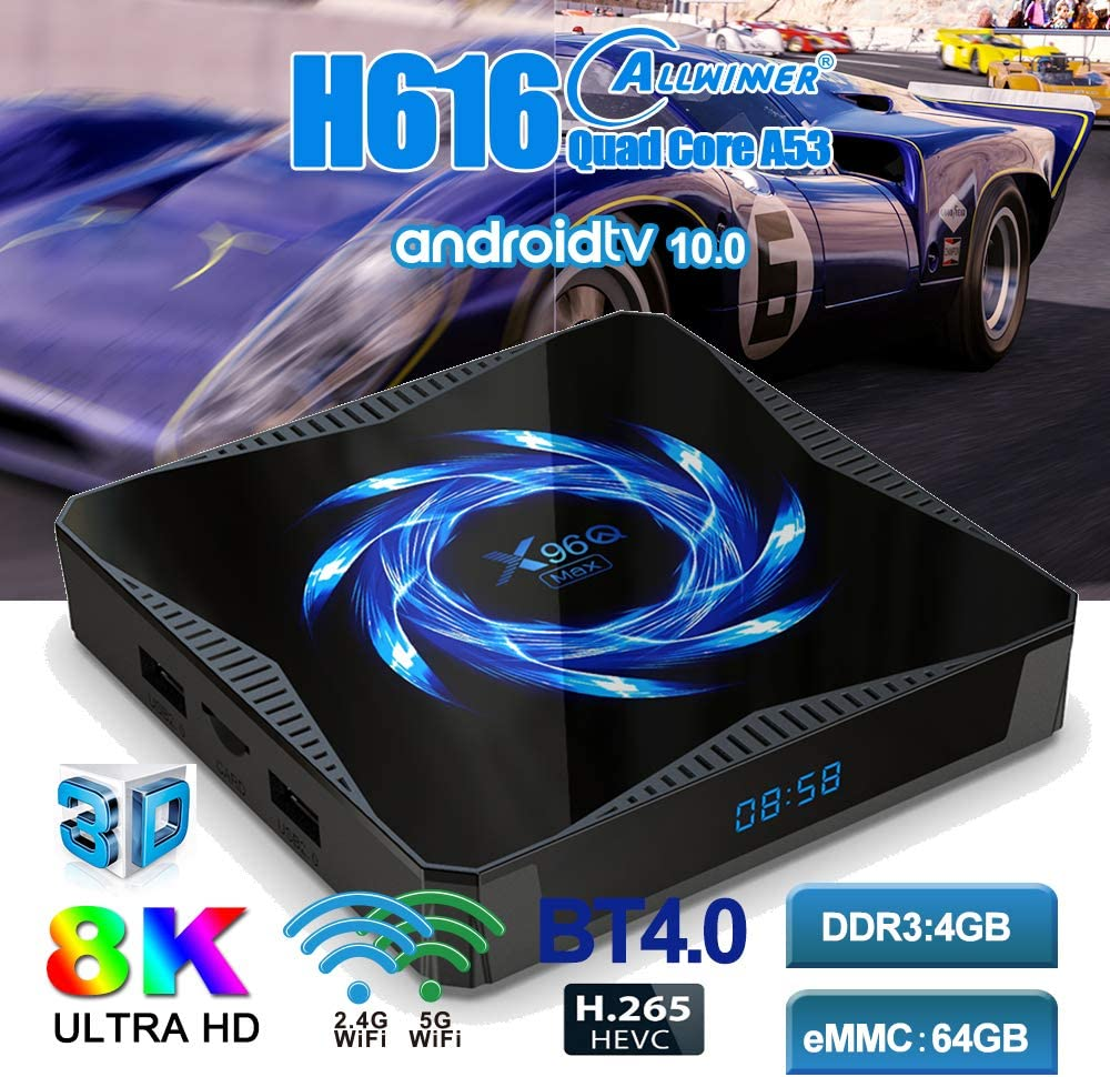 Android 10.0 Smart TV Box x96q Max allwinner h616 4GB 32GB 2.4G 5g Dual WiFi Bluetooth 4K Media Player Android TV Box x96q Set top Box (4G+32G)