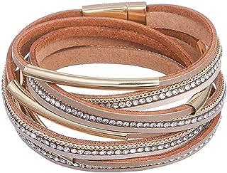 DESIMTION Leather Wrap Clasp Bracelets Jewelry for Women Teen Girl