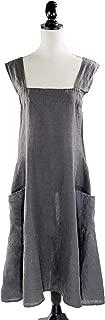 Fennco Styles Solid Criss Cross Back Apron Pure 100% Linen Cooking Kitchen Apron - 8 Colors (Slate)