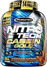 MuscleTech NitroTech Casein Gold Protein Powder, Sustained-Release Micellar Casein, Chocolate Supreme, 5lbs
