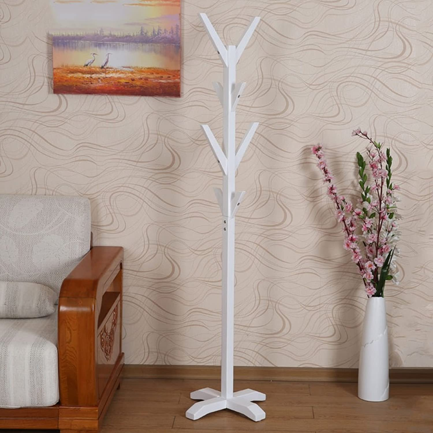 GJM Shop Woody Floorstanding Coat Rack Multifunction Hangers Bedroom Hanger Modern Combination of Clothes Shelves (color   White, Size   43  33  172cm)