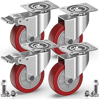 GBL® 4 Zwenkwielen 100mm + Schroeven | Zwaarlastwielen 600KG - Zwenkwielen Voor Meubels | Zwenkwieltjes voor een Trolley -...