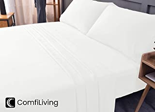 King Bed Sheet Set - 100% Bamboo,Cooling Sheets, Eco-Friendly, Non-allergenic, Wrinkle Free, Ultra Soft, Fade and Shrink Resistant, Deep Pocket Bedding Sheets - 4 Piece Set (White, King/Cal King)