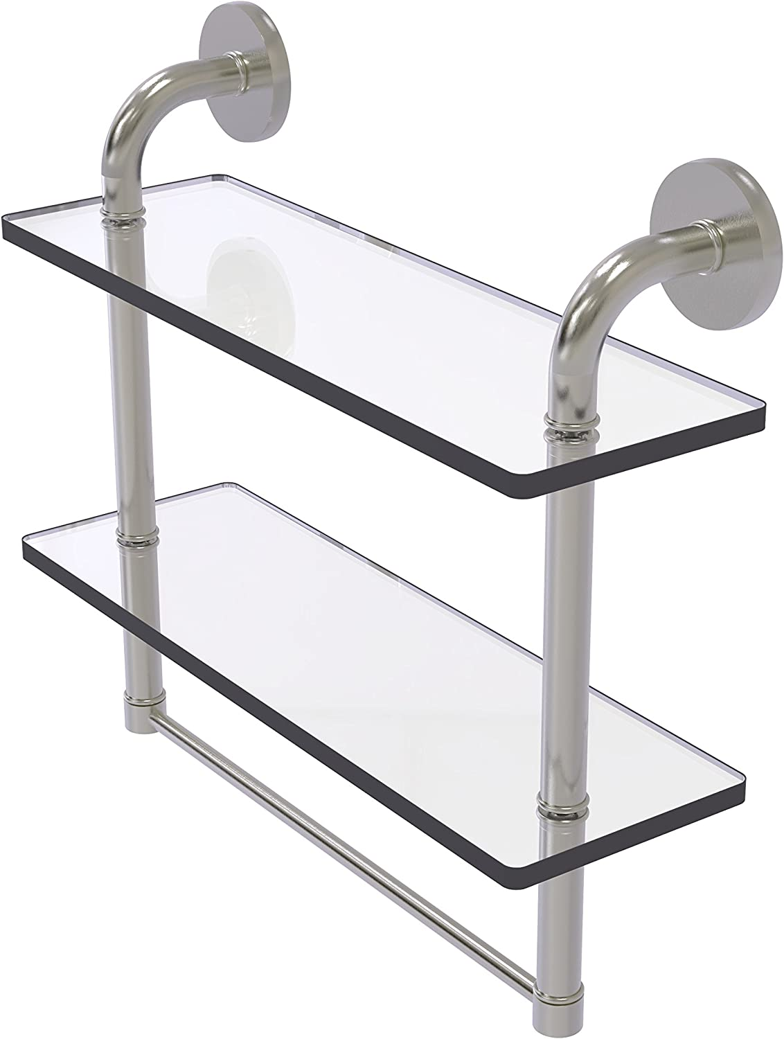 Allied Brass Remi Collection 16 Inch Two Tiered Glass Shelf with Integrated Towel Bar, RM-2-16TB-SN
