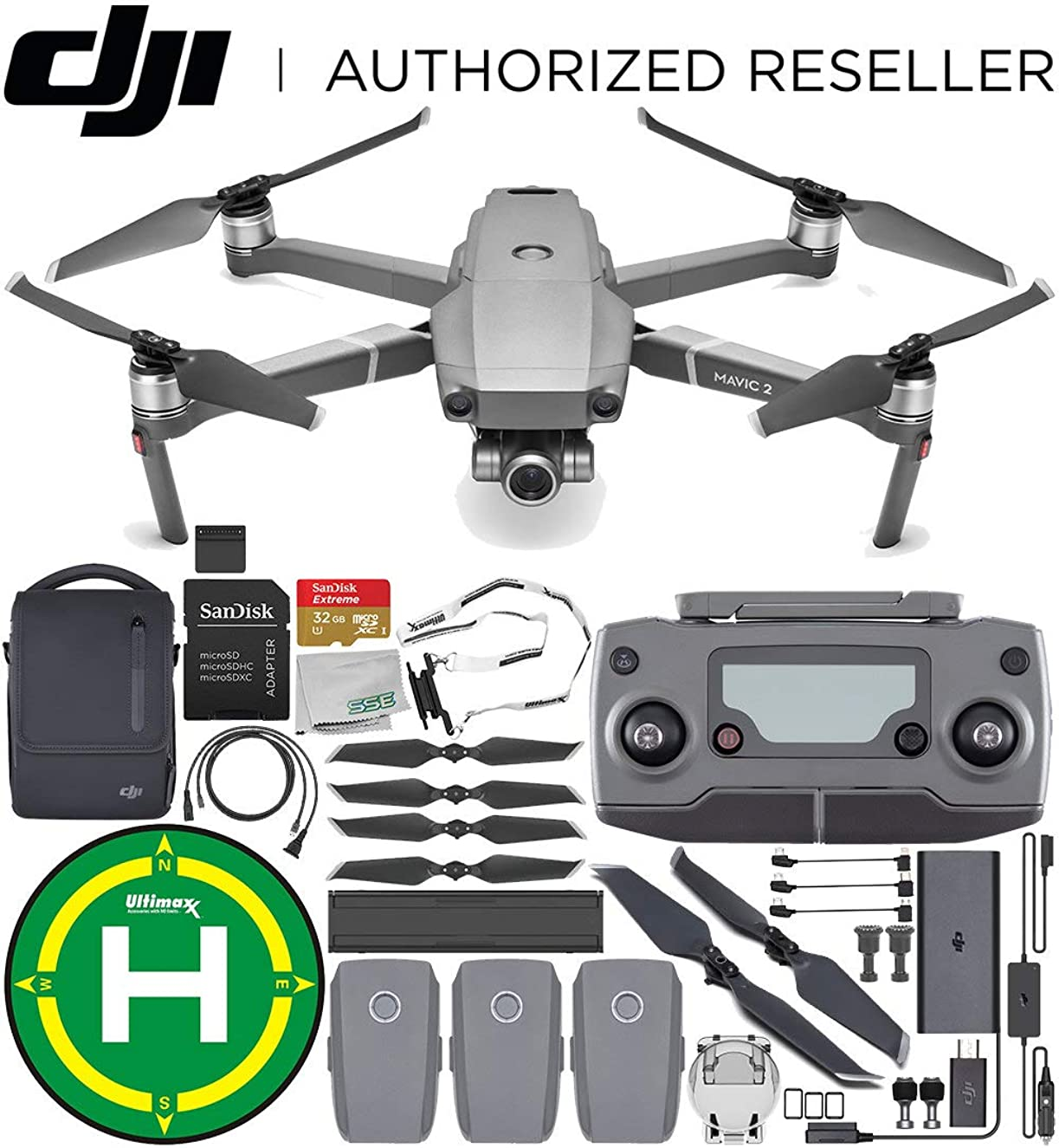 DJI Mavic 2 Zoom Drone Quadcopter with 24-48mm Optical Zoom Camera with Fly More Kit Combo Landing Pad Bundle