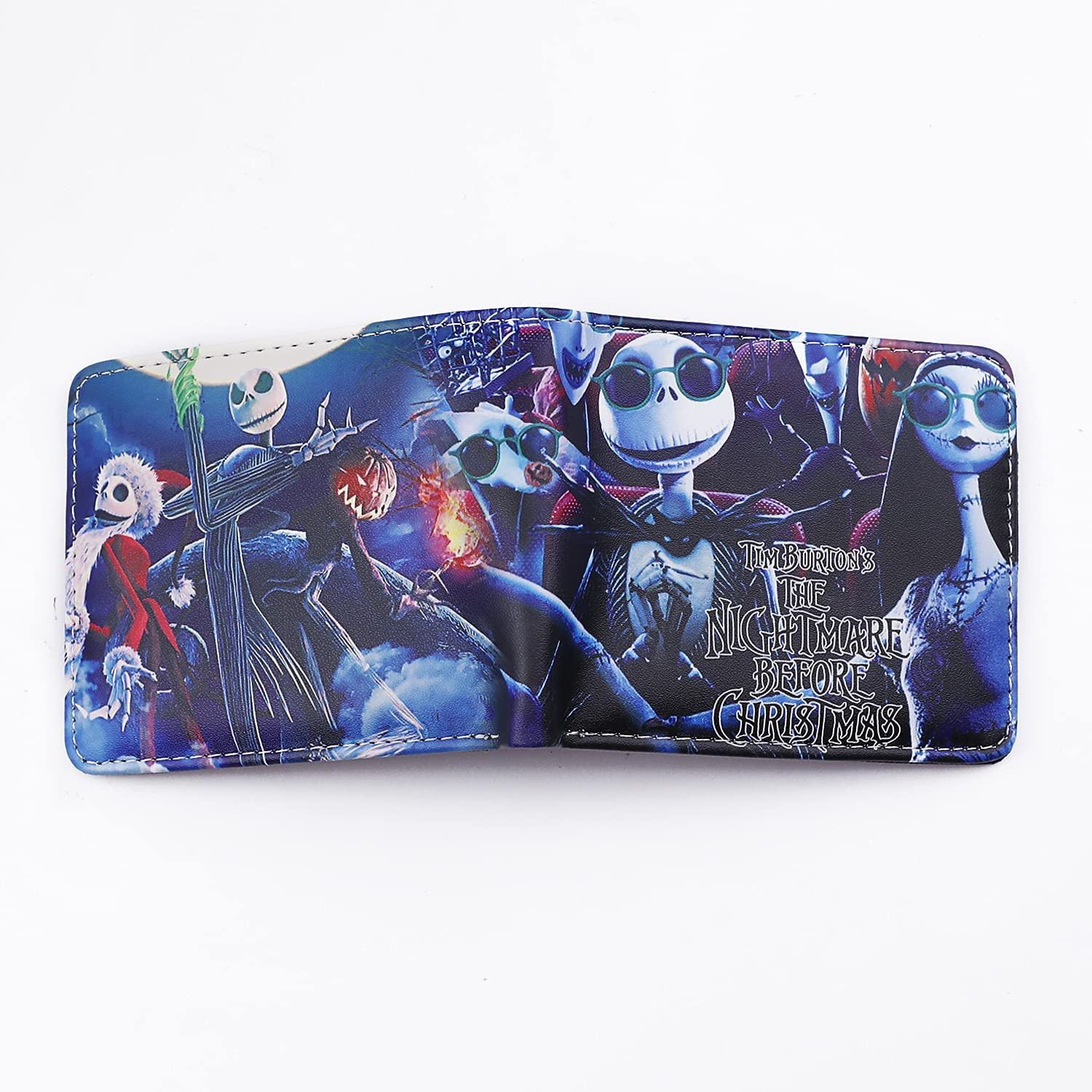 Men Boy Nightmare Before Christmas Leather Wallet Cartoon Purse Credit Card Holder (A)