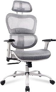 Mesh Office Chair, Ergonomic Desk Chair Technical Task Swivel Chair Executive High Back Chair Adjustable Home Chair - Grey