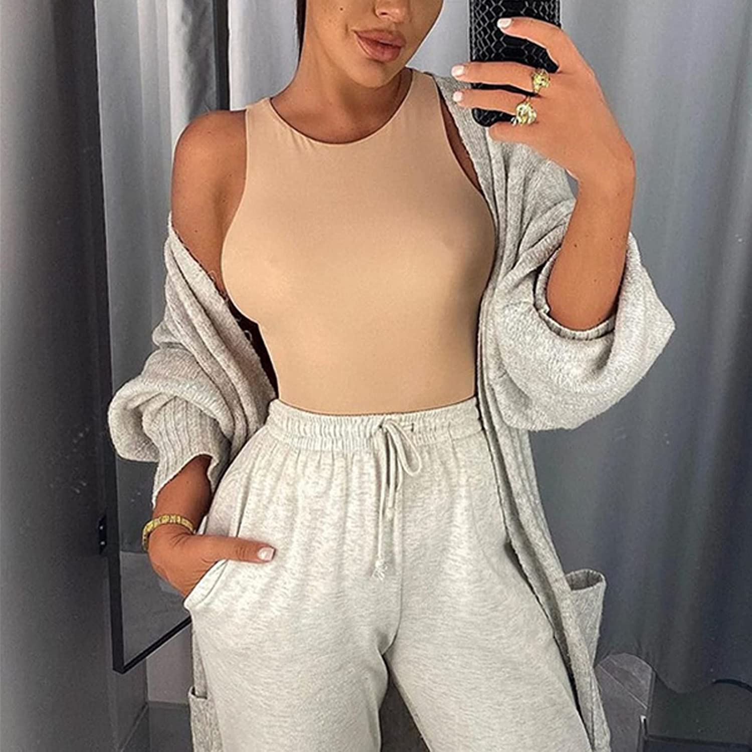 ZSIIBO Women's Sexy Bodysuits Round Collar Cute Sleeveless Jumpsuit Tank Tops Slim Fit Casual Basic Shirts