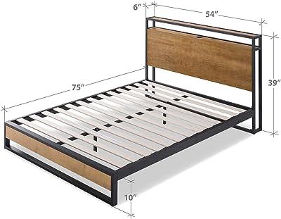 Amazon Com Mecor Upholstered Linen Queen Platform Bed