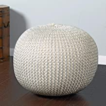 L.R. Resources Fairbanks Bone Silver Knitted Pouf Ottoman, 1'4X1'8, Ivory