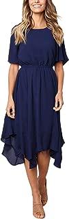 ECOWISH Women's Dresses Casual Chiffon Irregular Hem Short Sleeve Round Neck Swing Pleated Dress