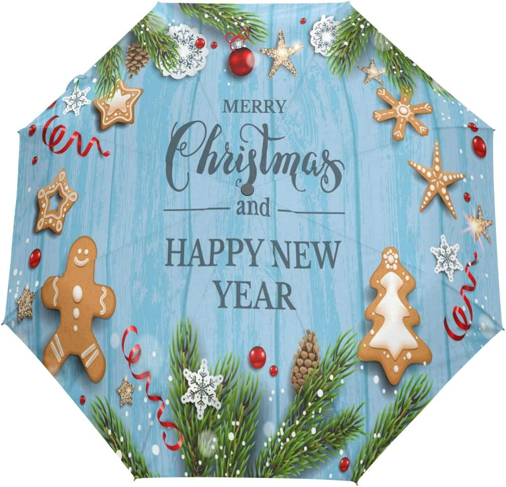 Merry Christmas Gingerbread Red Bell Com Over item handling High quality new Windproof Auto Umbrella