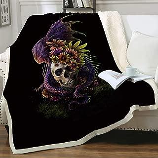 Flowery Skull by SunimaArt Super Soft Reversible Ultra Luxurious Plush Blanket Purple Bearded Dragon with Skull Bed Blankets Gothic Sherpa Fleece Blanket Baby(30