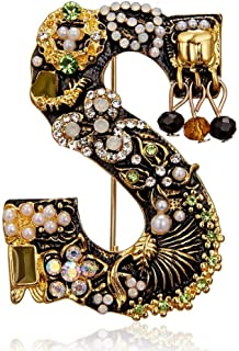 レディースブローチクラシックレトロレターエナメルパールクリスタルブローチゴールドカラーイニシャルネームブローチピンレディースメンズファッション