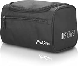 ProCase Toiletry Bag Travel Case with Hanging Hook, Organizer for Accessories, Shampoo, Cosmetic, Personal Items, Healthcare Bag with Handle, Black