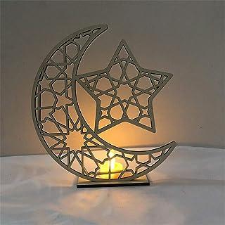 Saweky Wooden Ornament Hollow Fretwork Laser Cutting WoodCarving Ornaments Wood Slice Gift Eid Al Adha Mubarak Gift Moon H...