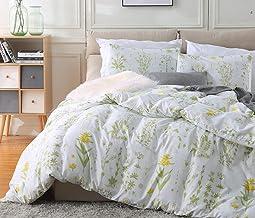 Fire Kirin Botanical Duvet Cover Set 3pc (1 Duvet Cover + 2 Pillowcases) Yellow Flowers and Green Leaves Floral Garden Pat...