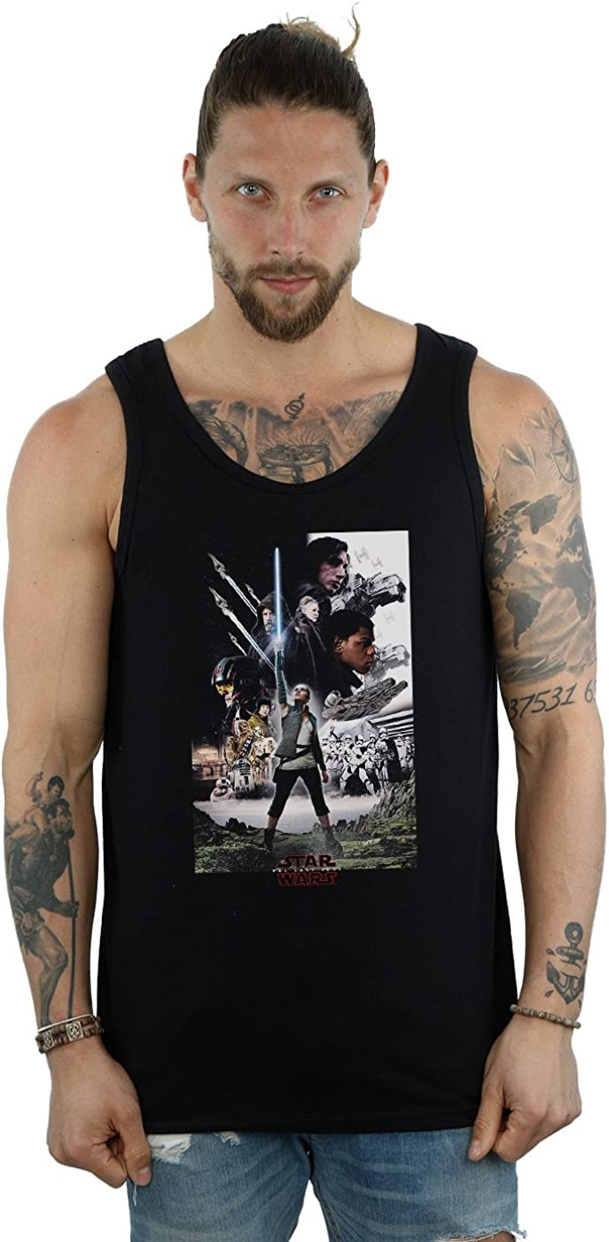 STAR WARS Men's The Last Jedi Over item handling X-Large Character Poster Top Discount is also underway Tank