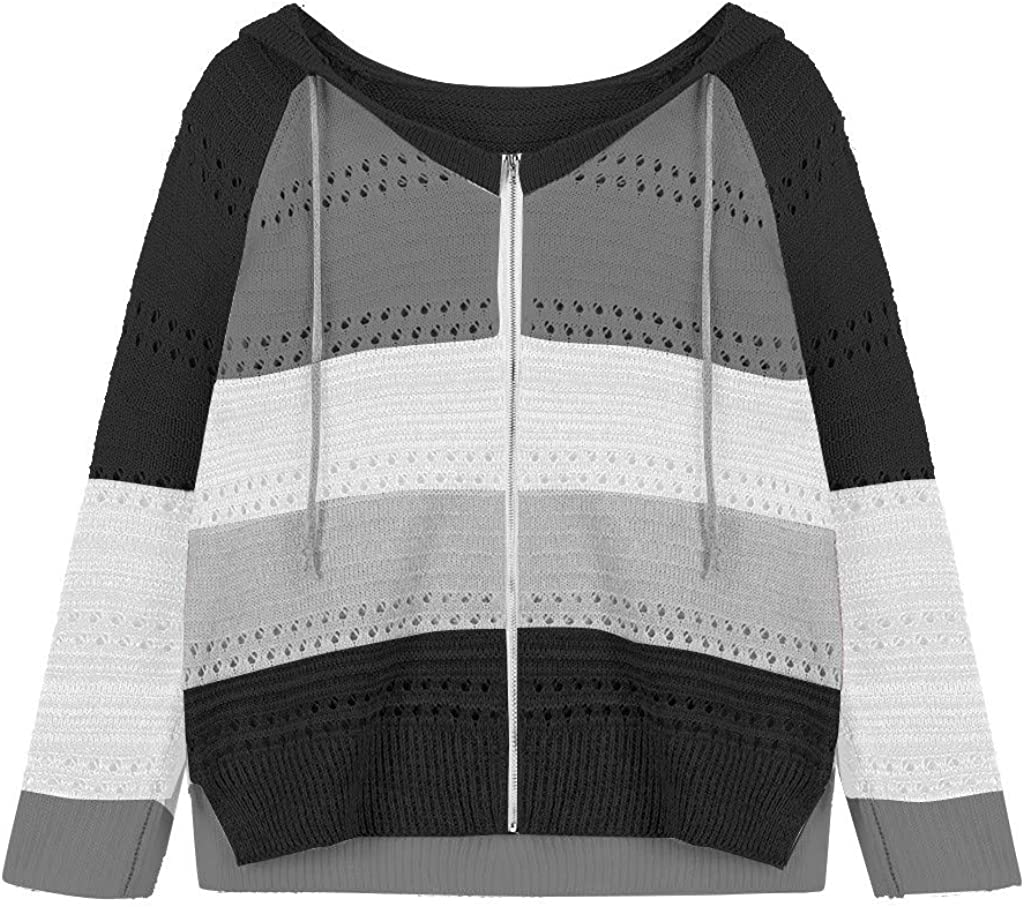 Forthery Fashion Women Casual Patchwork Long Sleeves Hooded Sweater Cardigan Blouse Tops O