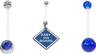 Loving My Bump Set of 3 Blue Pink Unisex Purple Girl/Boy Sets Pregnancy Maternity Belly Navel Bars bar PFTE Flexible Retainers Flexible Jewel, Glitter, Star or more choose (Blue BOB set)